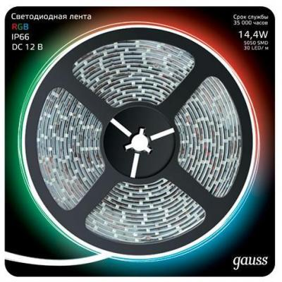 Светодиодная лента Gauss 5M RGB 14,4W IP66 311000414 лента светодиодная gauss 311000414