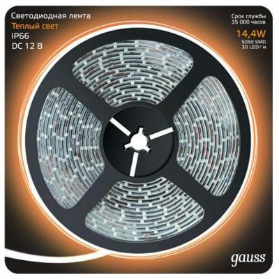 Светодиодная лента Gauss 5M теплый белый 14,4W IP66 311000114 светодиодная лента gauss 5m теплый белый 14 4w ip66 311000114