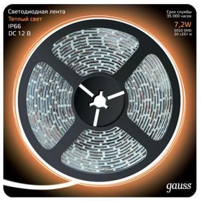 Светодиодная лента Gauss 5M теплый белый 7,2W IP66 311000107 светодиодная лента gauss 5m теплый белый 14 4w ip66 311000114