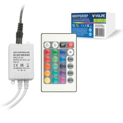 все цены на Контроллер для светодиодных лент RGB 12В с пультом ДУ (UL-00001113) Volpe ULC-Q431 RGB BLACK онлайн