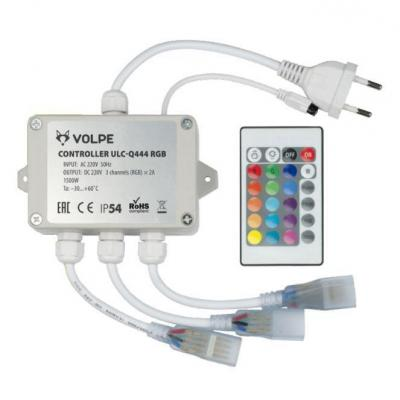 все цены на Контроллер для светодиодных RGB лент 220В с пультом ДУ (UL-00002275) Volpe ULC-Q444 RGB White онлайн