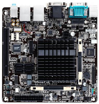 Материнская плата GigaByte GA-N3160N-D3V 2xDDR3 1xPCI 4 mini-ITX материнская плата asrock j3455b itx с процессором intel 2xddr3 1xpci e 16x 2 mini itx