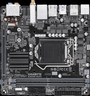 Материнская плата GigaByte B360N WIFI Socket 1151 v2 B360 2xDDR4 1xPCI-E 16x 4 mini-ITX Retail материнская плата пк asrock z270m itx ac z270m itx ac