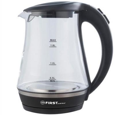цена на Чайник First FA-5405-1 Black 2200 Вт чёрный 1.7 л пластик/стекло
