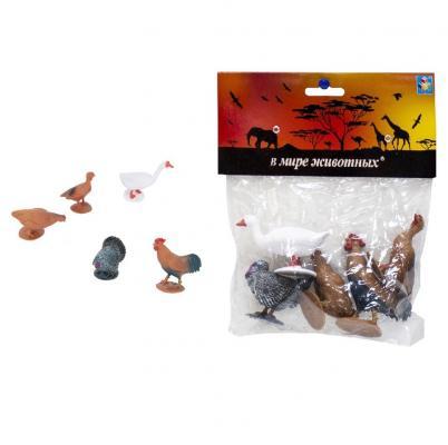 Купить 1toy В мире животных домашняя птица.5шт.в пак.21х18х2, 5см., разноцветный, Игрушки для купания