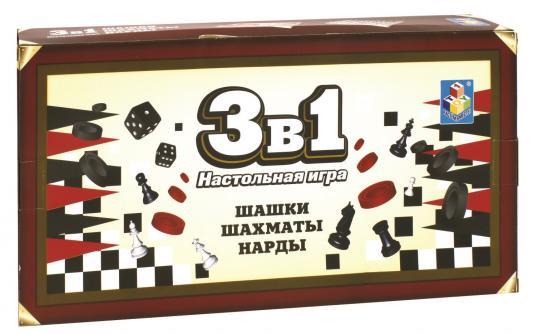 Настольная игра 1toy логическая Шашки, шахматы, нарды настольная игра логическая 3 в 1 шахматы шашки нарды магнитные 3704c
