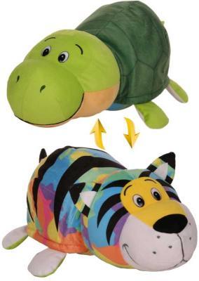 Мягкая игрушка вывернушка 1toy Радужный Тигр-Черепаха плюш пластик зеленый 40 см Т12333 мягкие игрушки 1toy вывернушка тигр черепаха