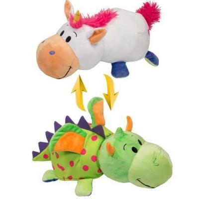 Купить Мягкая игрушка вывернушка 1toy вывернушка единорог-дракон текстиль белый зеленый 40 см Т10930, белый, зеленый, Интерактивные мягкие игрушки