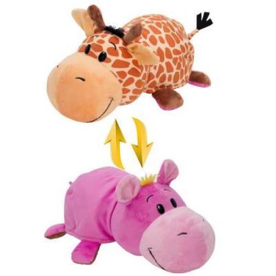 Мягкая игрушка вывернушка 1toy Жираф-Бегемот текстиль пластик розовый коричневый 40 см Т10877