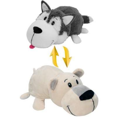 Мягкая игрушка вывернушка 1toy Хаски-Полярный медведь плюш белый серый 40 см Т10929