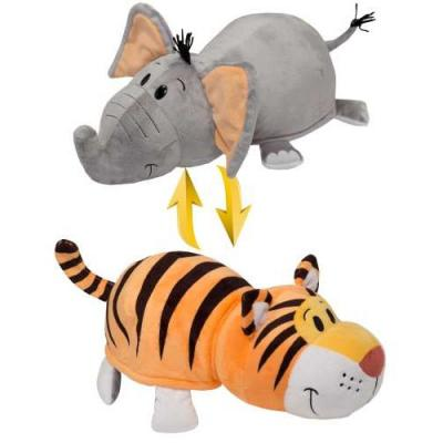 Купить Мягкая игрушка вывернушка 1toy Вывернушка Тигр-Слон текстиль серый оранжевый 40 см Т10931, серый, оранжевый, Интерактивные мягкие игрушки
