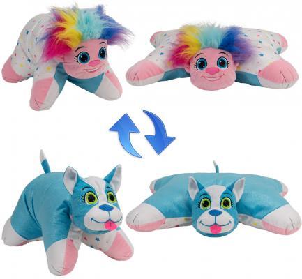Купить Подушка вывернушка 1toy Радужный Тролль-Блестящий Щенок плюш, разноцветный, Интерактивные мягкие игрушки