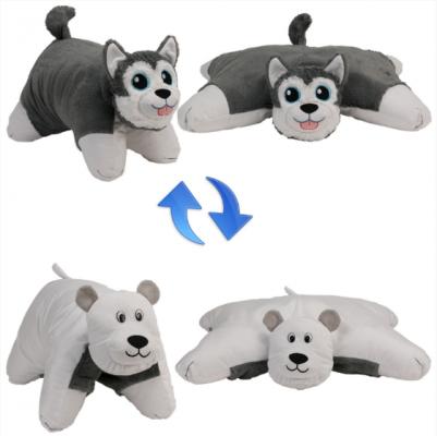 Вывернушка собака 1toy Хаски-Полярный Медведь плюш пластик наполнитель белый серый 56 см 4moms электронное mamaroo 3 0 серый плюш