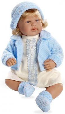 Купить Arias ELEGANCE мягк кукла 45 см с кристалл.SWAROWSKI, в одежде голуб., со звук. эфф.смех при нажатии на животик (3хLR44/AG13), в кор. 26*16, 5*48 см, пластик, текстиль, Классические куклы и пупсы