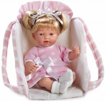 Купить Кукла Arias Elegance - Девочка с соской, в переносном розовом кресле 28 см со звуком Т11057, пластик, текстиль, Классические куклы и пупсы