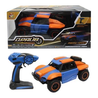 1toy Драйв, раллийная машина на р/у, 2,4GHz, 4WD, масштаб 1:18, скорость до 25км/ч, курковый пульт, амортизаторы, с АКБ, голубо-оранжевый 1toy раллийная машина на р у