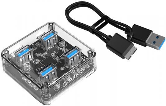 Концентратор USB 3.0 Orico MH4U-U3 4 х USB 3.0 прозрачный orico h727rk u3 7 port usb hub with usb 3 0 cable