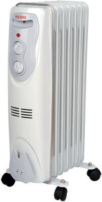 Масляный радиатор Ресанта ОМ-7Н 1500 Вт термостат вентилятор обогрев колеса для перемещения белый