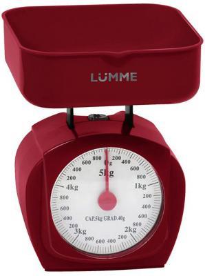 Весы кухонные механические Lumme LU-1302 красный гранат