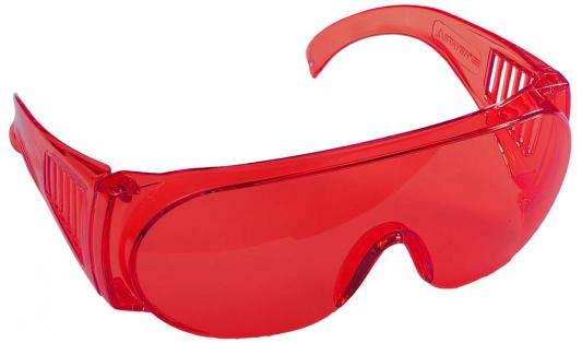 Очки STAYER 11045  standard защитные поликарбонатная монолинза с боковой вентиляцией красные