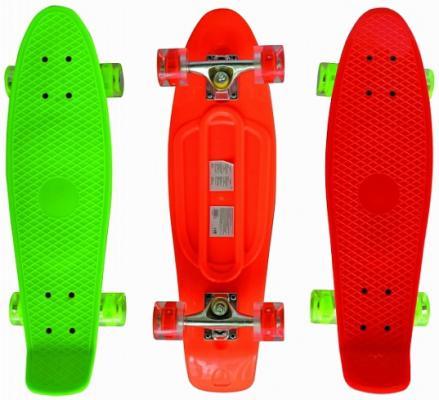 Скейт Navigator пласт.,кол.PU 57х42мм свет, втулки ПВХ, алюм.траки, 68х20х9,5см, оранж, зелен.,красн. скейт navigator т59495
