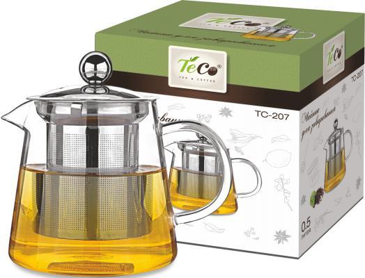 207-TC Чайник для заваривания TECO 500 мл из стекла c ситом и крышкой из стекла