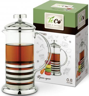 2080F-TС Френч-пресс TECO 0,8л из высококачественного термостойкого стекла 4035f tс френч пресс teco 0 35л из высококачественного термостойкого стекла