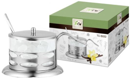 022S-TC-1(овалы) Сахарница TECO из стекла и нержавеющей стали (200мл)