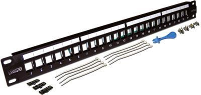 Патч-панель наборная 19, неэкранированная, 24 порта, 1U, LANMASTER патч панель наборная lanmaster twt pp24ok stp 19 1u 24xrj45 ftp