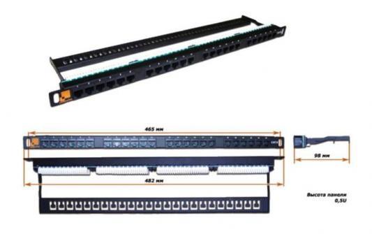Патч-панель 19, 24 порта RJ-45, категория 6, UTP, 0.5U, компактная, LANMASTER LAN-PPC24U6 патч панель lanmaster twt pp24utp 19 1u