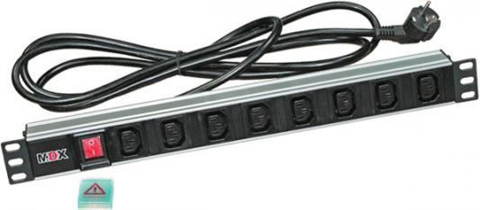 Блок розеток MDX MDX-PDU-8C13-16A-Sw 3 м 8 розеток MDX-PDU-8C13-16A-Sw блок выключателей glen gelan 16a