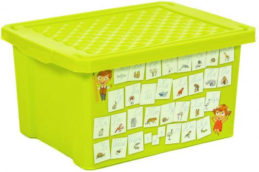 Littel Angel Детский ящик для хранения игрушек X-BOX Обучайка Азбука 17л салатовый