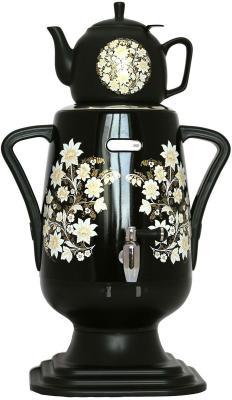 Самовар+заварной чайник Добрыня DO-419 Серебряная роспись черный