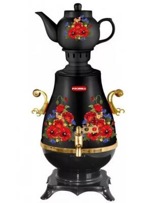 Самовар Росинка РОС 1005 2200 Вт чёрный рисунок 4 л керамика термос росинка рос 210 1л серебристый бежевый рисунок