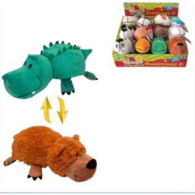 Мягкая игрушка вывернушка 1toy Аллигатор-Медвежонок плюш пластик зеленый коричневый 20 см Т10921 цена