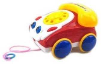 Каталка на шнурке Наша Игрушка Телефончик на веревочке желто-красный от 2 лет пластик 100312987100312987 интерактивная игрушка наша игрушка телефончик е нотка от 18 месяцев цвет в ассортименте 60081