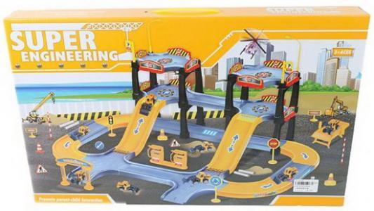 Купить Парковка, Дорожные работы, 3 уровня, машина 5шт, вертолет 1шт., деталей 64шт., Наша Игрушка, Пластик, Для мальчиков, Гаражи, парковки, треки