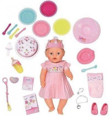 Кукла ZAPF Creation BABY born Интерактивная Нарядная с тортом 43 см плачущая пьющая писающая 825-129