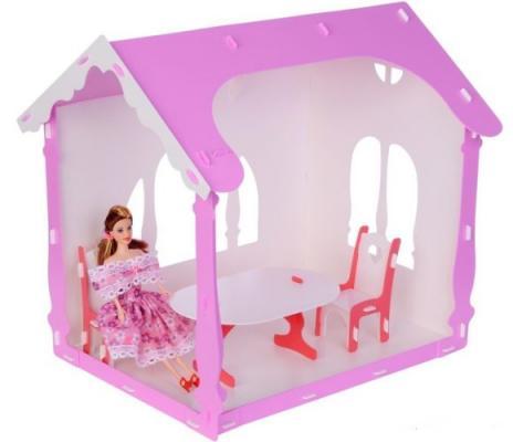 Домик для кукол  Летний дом Вероника бело-розовый с мебелью