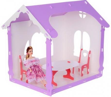 все цены на Домик для кукол Летний дом Вероника бело-сиреневый с мебелью онлайн