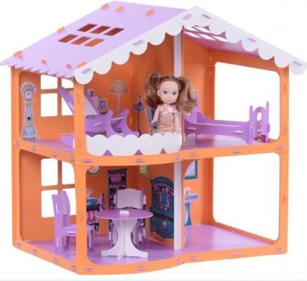 все цены на Домик для кукол Дом Анжелика оранжево-сиреневый с мебелью онлайн