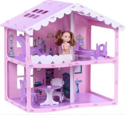 все цены на Домик для кукол Дом Анжелика розово-сиреневый с мебелью онлайн