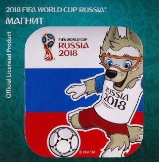 Магнит картон FIFA 2018 Забивака Удар! триколор брелок fifa 2018 забивака удар