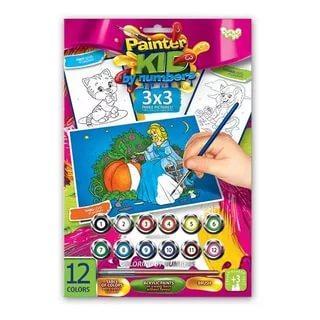 Раскраска по номерам ДАНКО-ТОЙС Золушка от 3 лет азбука тойс раскраска по номерам принцесса в синем