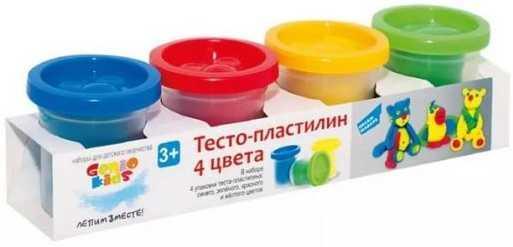 Набор для детского творчества Тесто-пластилин 4 цвета набор для творчества пластилин eberhard faber на водной основе 4 неоновых цвета 520гр в карт коробке