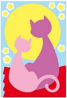 Раскраска А4 Две кошечки - Раскрась цветным песком с блестками