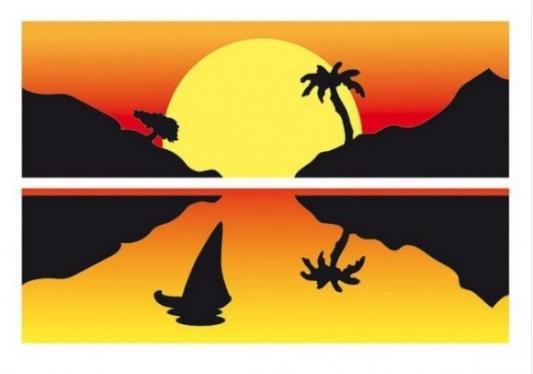 Раскраска А4 Закат на острове - Раскрась цветным песком с блестками