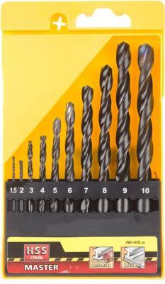 Набор сверл STAYER MASTER 2961-H10_z01 по металлу быстрорежущая сталь 1.5-10мм 10шт. кисть радиаторная universal master нат щетина 50мм stayer 0110 50 z01