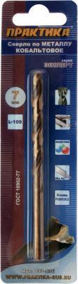 Сверло по металлу ПРАКТИКА 033-536 7.0х109мм кобальтовое, в блистере сверло по металлу практика 033 185 3 3х65мм
