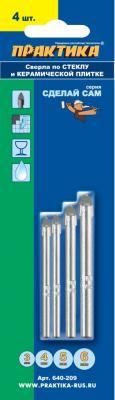 Набор сверл ПРАКТИКА 640-209 стекло и керамика, 4шт.: 3,4,5,6мм, блистер, Сделай сам набор сверл практика 640 186 дерево 5шт 3 4 5 6 8мм блистер сделай сам